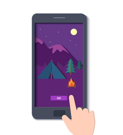 Evening camp with a fire and a tent pine forest and rocky mountains in a mobile phone with hand in paper cut style. Camping mobile template adventure application. Vector illustration card.
