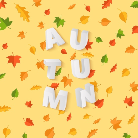 Word AUTUMN composition with green yellow red leaves on yellow background in paper cut style. Fall leaf 3d realistic letters for design poster, banner, flyer T-shirt printing. Vector card illustration