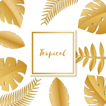 Composition with luxury golden jungle leaves on white background in paper cut style. Tropical leaf white square frame, template for design poster, banner, flyer weddingcard, Vector illustration. Stock Illustratie