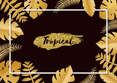 Composition with luxury golden jungle leaves on white background in paper cut style. Tropical white leaf frame, template for design poster, banner, flyer weddingcard, Vector illustration