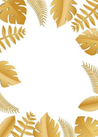 Composition with luxury golden jungle leaves on white background in paper cut style. Tropical gold leaf frame, template for design poster, banner, flyer weddingcard, Vector illustration. Stock Illustratie