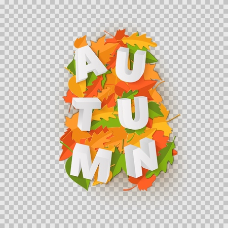 Word AUTUMN composition with green yellow red leaves with shadow in paper cut style. Fall craft leaf 3d realistic letters for design poster, banner, flyer T-shirt printing. Vector illustration.