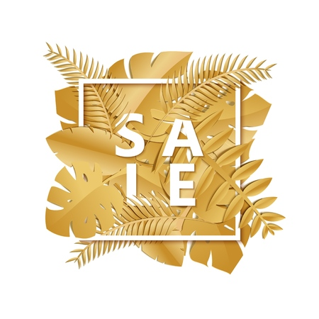 Composition with luxury golden jungle leaves on white background and word SALE in paper cut style. Tropical leaf white square frame, template for design poster, advertising banner, flyer. Vector