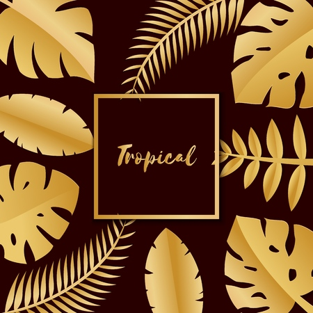 Composition with luxury golden jungle leaves on dark background in paper cut style. Tropical leaf gold square frame, template for design poster, banner, flyer weddingcard, Vector illustration.