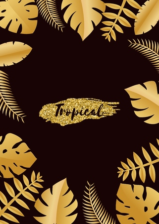 Composition with luxury golden jungle leaves on dark background in paper cut style. Tropical gold leaf frame, template for design poster, banner, flyer weddingcard, Vector illustration. Stockfoto