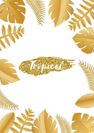 Composition with luxury golden jungle leaves on white background in paper cut style. Tropical gold leaf frame, template for design poster, banner, flyer weddingcard, Vector illustration Stockfoto - 114893735