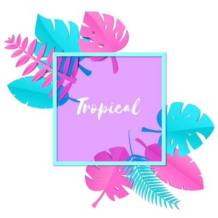 Composition with creative pink blue jungle leaves on white background in paper cut style. Tropical leaf violet square frame, template for design poster, banner, flyer T-shirt printing, Vector Ilustração