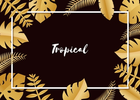 Composition with luxury golden jungle leaves on white background in paper cut style. Tropical white leaf frame, template for design poster, banner, flyer weddingcard, Vector illustration. Stock Illustratie