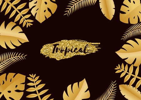 Composition with luxury golden jungle leaves on dark background in paper cut style. Tropical gold leaf frame, template for design poster, banner, flyer weddingcard, Vector illustration
