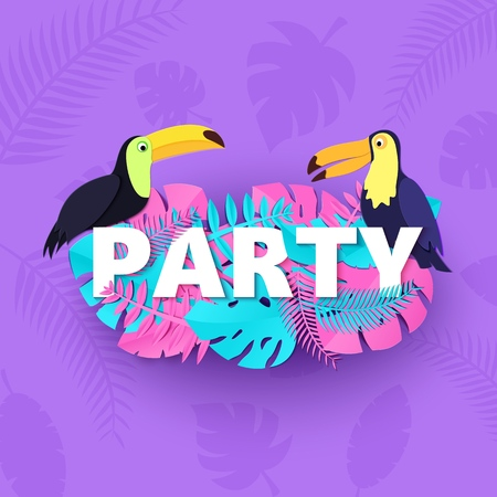 Word PARTY composition with pink blue leaves toucans violet background in paper cut style. Tropical birds leaf letters for design poster, banner flyer T-shirt printing Vector illustration card.