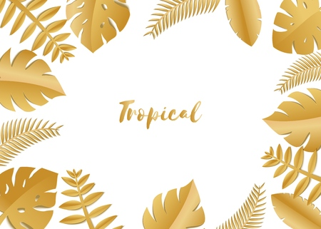 Composition with luxury golden jungle leaves on white background in paper cut style. Tropical gold leaf frame, template for design poster, banner, flyer weddingcard, Vector illustration Stockfoto - 112014898