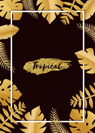 Composition with luxury golden jungle leaves on white background in paper cut style. Tropical white leaf frame, template for design poster, banner, flyer weddingcard, Vector illustration. Stockfoto