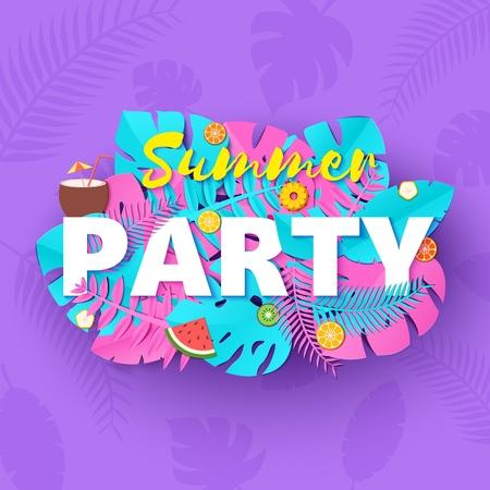 Word PARTY zomersamenstelling met creatieve roze en blauwe jungle verlaat fruit en cocktail in papierstijl. Tropisch ambachtelijk ontwerp voor het afdrukken van uw poster, banner, flyer T-shirt. Vector