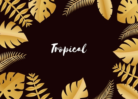 Composition with luxury golden jungle leaves on dark background in paper cut style. Tropical gold leaf frame, template for design poster, banner, flyer weddingcard, Vector illustration. Stock Illustratie