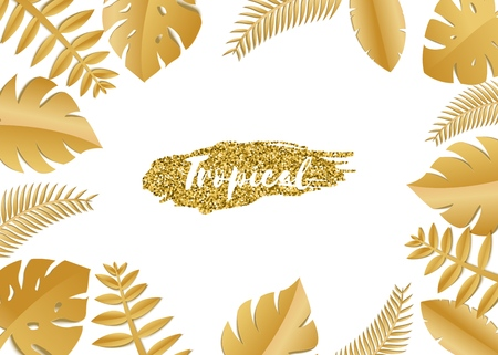 Composition with luxury golden jungle leaves on white background in paper cut style. Tropical gold leaf frame, template for design poster, banner, flyer weddingcard, Vector illustration. Stockfoto