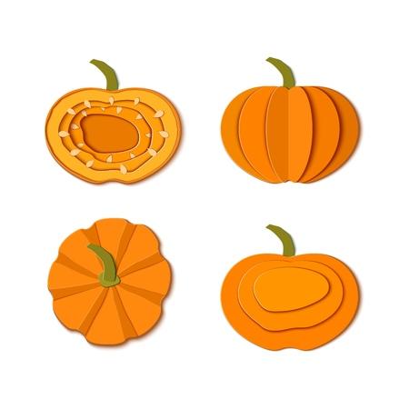Set of paper cut orange pumpkins. Origami pumpkin whole, a piece, slice, top view Collection design elements for Halloween party, Thanksgiving Day card. Vector illustration. Paper art style Ilustração