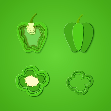 Set of paper cut green pepper. Vector paper cut design in the form of whole and slice pepper for design of food packaging. Vector illustration. Paper art style paprika. Origami concept. Stock Photo