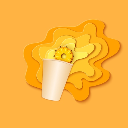 Paper cup with splash pouring juice. Bursts of pineaplple juice in layers spread over the yellow background and a piece of juicy ananas in paper style. Vector illustration origami art. Ilustração
