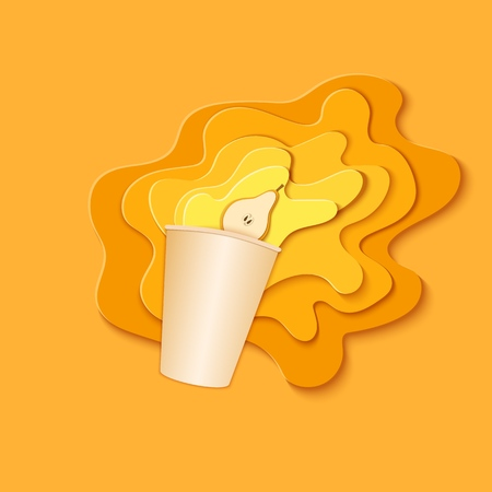 Paper cup with splash pouring juice. Bursts of pear juice in layers spread over the yellow background and a piece of juicy friut in paper style. Vector illustration origami art Vectores