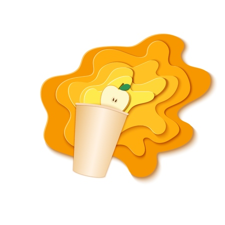 Paper cup with splash pouring juice. Bursts of apple juice in layers spread over the white background and a piece of juicy friut in paper style. Vector illustration origami art