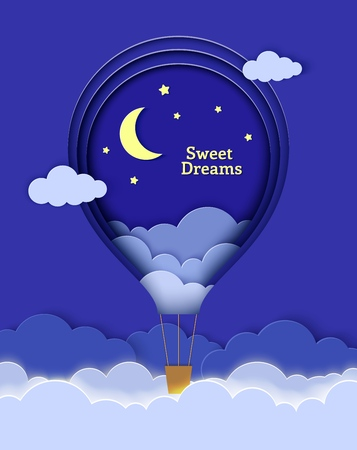 Hot air balloon flying above the clouds in paper cut style. Night landscape clouds in the sky moon and stars. Origami style kretivnaya vector greeting card with the wishes of sweet dreams