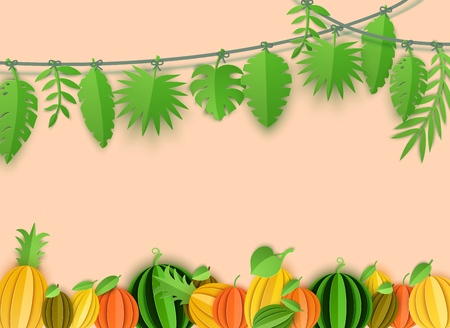 Summer tropical leaves garland and citrus fruits border in paper cut style. Craft jungle plants collection hanging on a rope on beige background. Creative vector card illustration