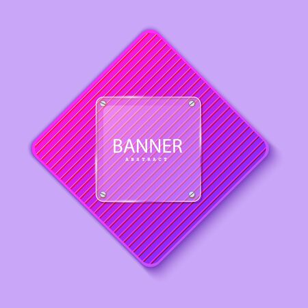 Glass square banner on the background of the striped plate in the shape of a rhombus. Layered background square shapes with color neon gradient. Design elements for celebrating card, promo flyer