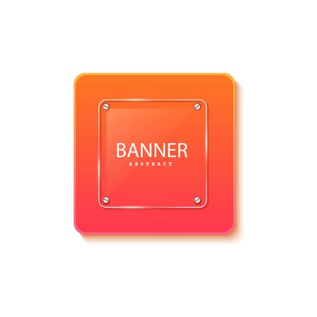 Glass square banner on the background of the plate in the shape of a rectangle. Layered background square shapes with color orange red gradient. Design elements for celebrating card, promo flyer