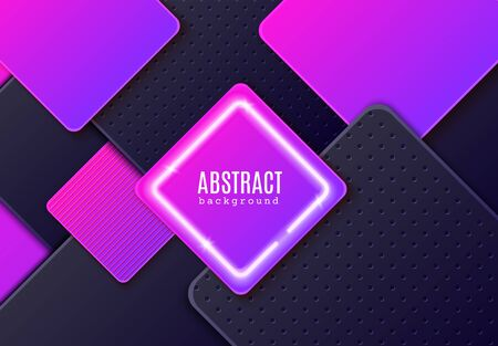 Abstract horizontal background with dark grey and neon gradient layered rhombus. Glowing vector frame and minimalist paper cut geometric pattern. Design concept for celebrating card, promo flyer. Ilustração