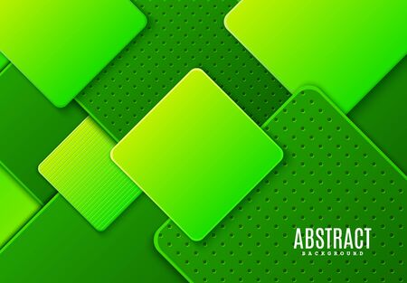 Abstract horizontal background with dark and light green gradient rhombus. Vector minimalist paper cut geometric pattern with striped and dots shape. Design concept for card of Earth day, eco flyer.