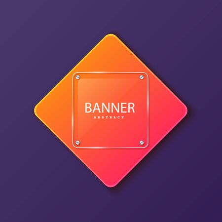 Glass square banner on the background of the plate in the shape of a rhombus. Layered background square shapes with color orange red gradient. Design elements for celebrating card, promo flyer Ilustração