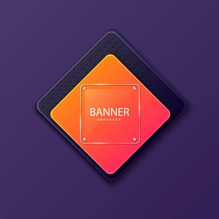 Glass square banner on the background of the plate in the shape of a rhombus. Layered background square shapes with color gradient gradients. Design elements for celebrating card, promo flyer.