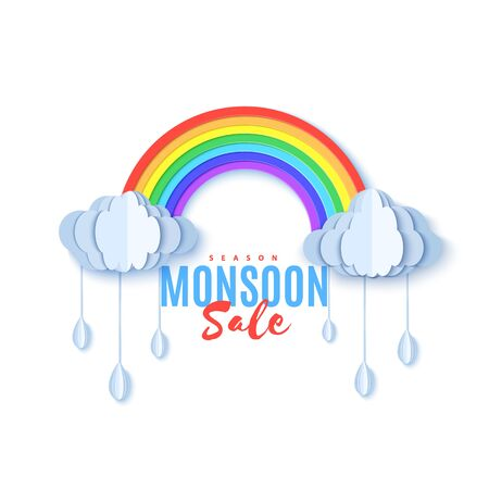Rainbow and clouds with bangle falling drops in paper cut style. Vector cloudy weather concept isolated on white background. Monsoon sale advertising promotion creative banner template
