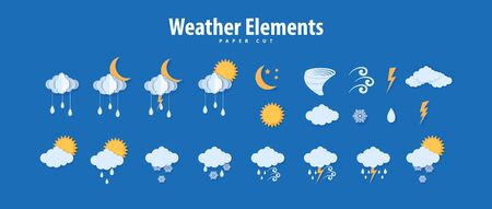 Weather icons in paper cut style. Vector paper carve climate elements clouds raindrops sun moon tornado thunder for meteorology poster design. Origami art creative symbols of storm Ilustração
