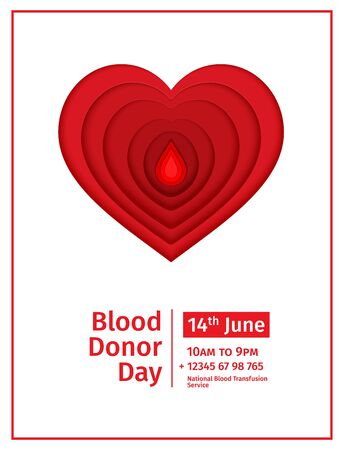 World Blood Donor Day 14 June vector paper cut poster. Papercut red blood drop and heart paper on white background. Vector medicine 3d illustration. Creative donor or Hemophilia day banner
