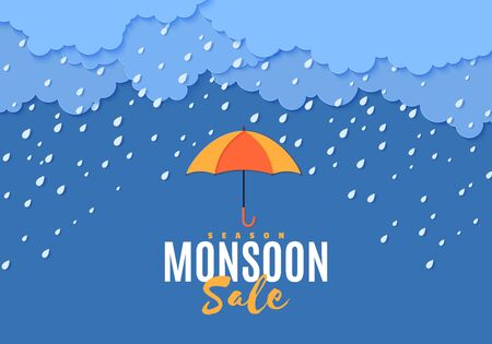 Rain umbrella and clouds in the paper cut style. Vector storm weather concept with falling water drops from the cloudy sky. Monsoon sale storm horizontal banner template. Vektorové ilustrace