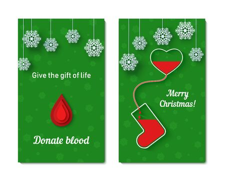 Red drops of blood flow from the heart into vessel in the shape of Christmas sock with snowflakes on rope.. Set of vector Thank you card in paper cut style. Blood transfusion creative poster concept