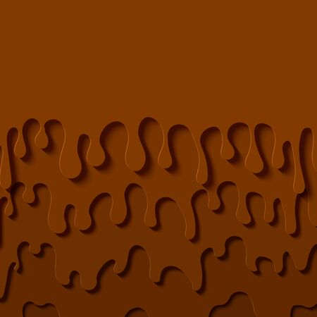Brown abstract background in paper cut style. Layers of melted chocolate flow down. Papercut silhouette drops of slime. Vector card illustration Ilustrace