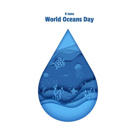 Paper cut drop form depth under water sea cave with fishes, coral reef, seabed in algae, waves. World Oceans Day 8 June. Diving concept, deep blue marine life. Vector sea wildlife Vectores
