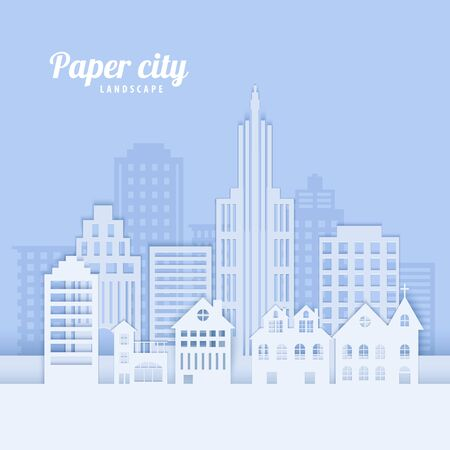 Paysage de la ville dans un style papier découpé. Immeubles de bureaux et d'habitation en papier blanc pour brochures sur l'écologie de la ville, protection de l'environnement, annonce de location de logement. Panorama d'architecture de carte vectorielle Vecteurs