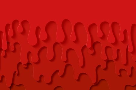 Red slime abstract background in paper cut style. Layers jam of flow down. Viscous liquid flowing down the wall. Papercut silhouette strawberry drops. Vector card illustration