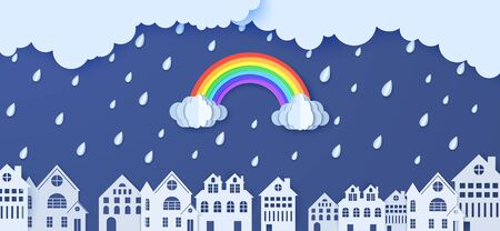 Rainbow rain and clouds over houses in the paper cut style. Vector clouds and rain in blue sky background and city buildings. Monsoon sale advertising promotion creative banner template