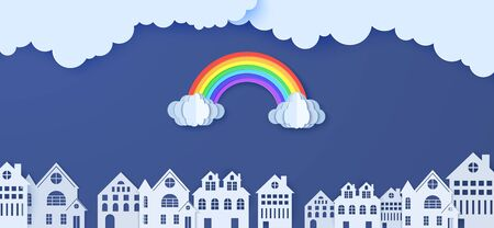 Rainbow and clouds over houses in the paper cut style. Vector cloudy weather in blue sky background and white papercut city buildings. Monsoon sale advertising promotion creative banner template.