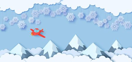 Snowflakes on ropes hanging over mountains and red airplane flying in paper cut style. Clouds in blue sky, plaine and snow capped mountains. Vector papercut winter concept. Merry Christmas sale