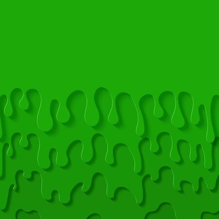 Green slime abstract background in paper cut style. Layers of flow down. Viscous liquid flowing down the wall. Template for Halloween flyer design. Papercut silhouette drops. Vector card illustration