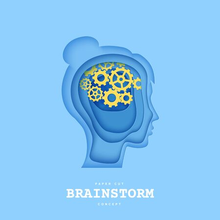 Woman brainstorm head in paper cut style. Silhouette of layered human with think gears in brain. Origami skull papercut profile with idea sign on the depth of layers cardboard. Creative vector concept