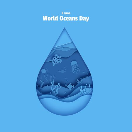 Paper cut drop form depth under water sea cave with fishes, coral reef, seabed in algae, waves. World Oceans Day 8 June. Diving concept, deep blue marine life. Vector sea wildlife  イラスト・ベクター素材