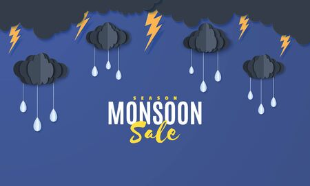 Clouds and raindrops hang on a rope in the style of paper cut. Vector stormy weather concept with raindrops of water falling from a thunderstorm from a cloudy night sky. Monsoon sale banner template.