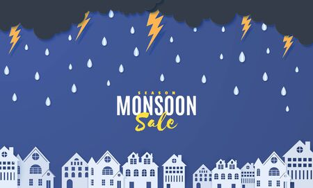 Rain thunder lightning and clouds over houses in the paper cut style. Vector clouds thunderstorm and rain in blue night sky background and city buildings. Storm papercut Monsoon sale horizontal banner Çizim