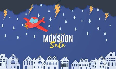Red airplane flying in the storm over houses in the paper cut style. Rain thunder lightning clouds and city buildings. Vector rainy weather concept template for autumn monsoon sale banner